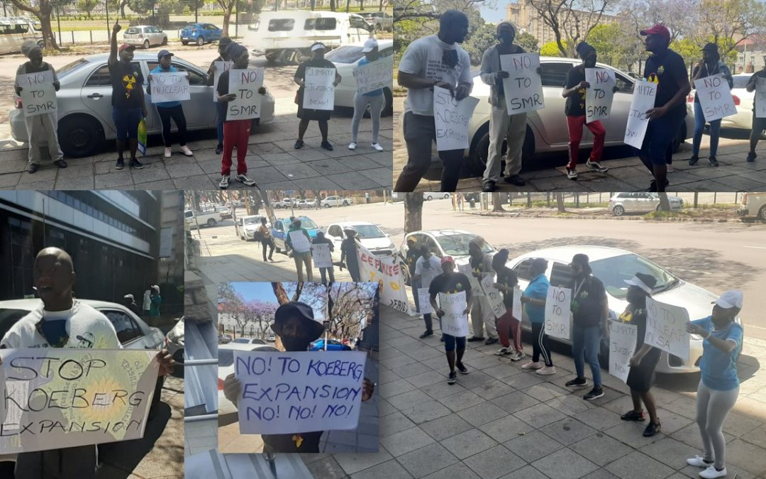 """Peaceful demonstration at DMRE: Earthlife Africa and youth from the Climate Justice Action Group say """"NO!"""" to Nuclear Energy"""
